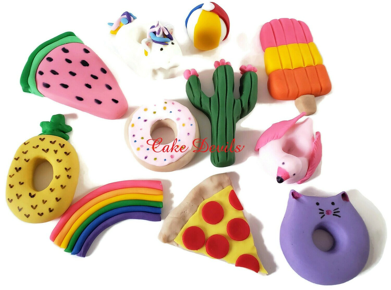 Fun Shape Fondant Pool Party Cake Toppers, Unicorn, Pizza, Doughnut, pineapple, and more!