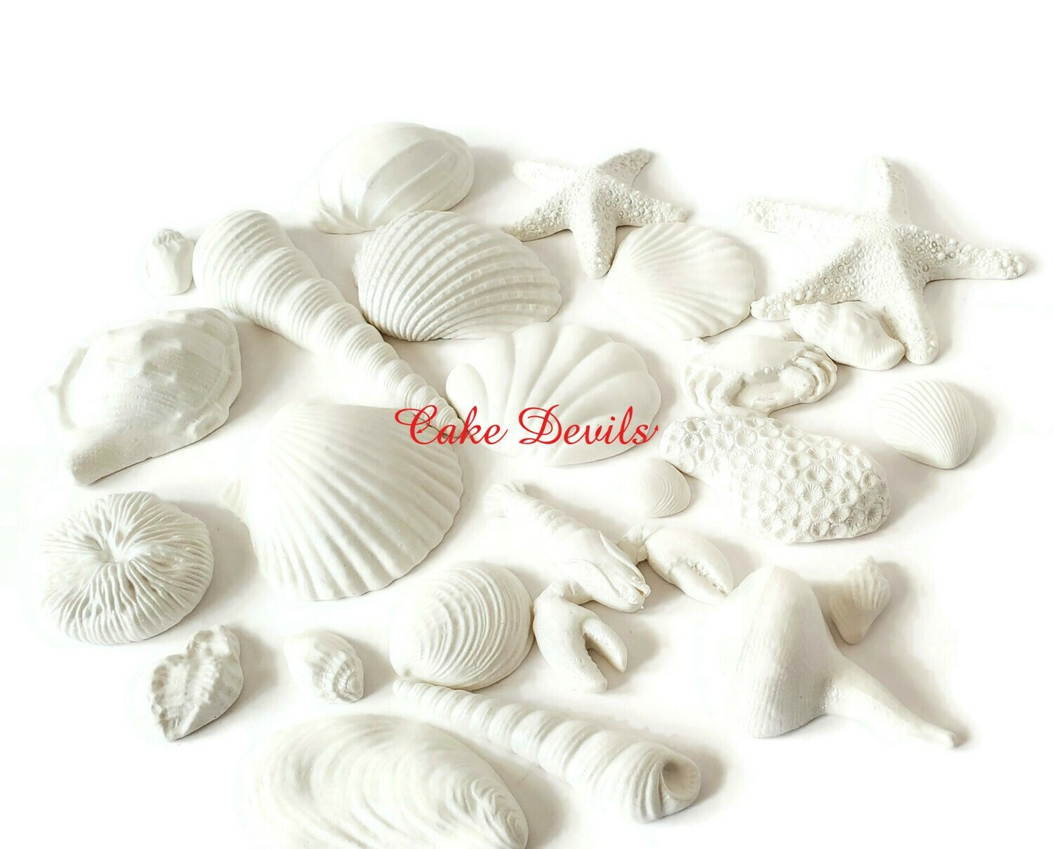 Large White Fondant Shells, Sea Shell Cake Toppers, starfish, coral, lobster, Beach Wedding Cake
