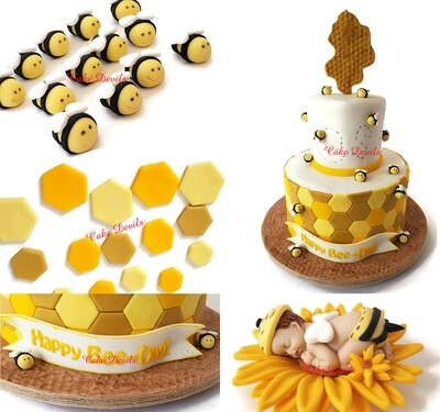 Fondant Bumble Bee and Honeycomb Cake Toppers, Perfect for a What Will it Bee Gender Reveal, a Happy Bee-day Birthday Cake, Mommy to Bee