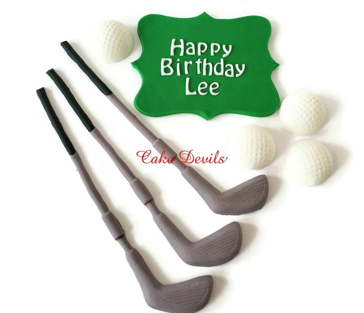 Fondant Golf Cake Topper Kit with golf clubs and balls