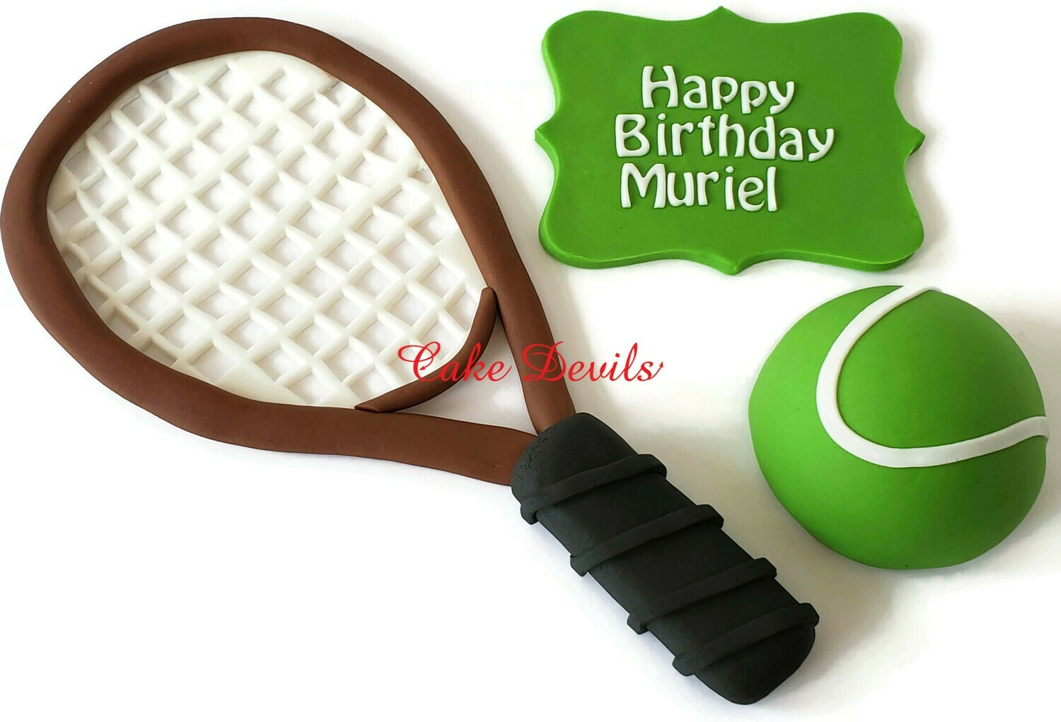 Fondant Tennis Cake Toppers, Tennis Racket, Tennis Ball, and Plaque Cake Decorations for birthday, retirement, and more!