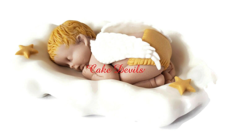 Angel Baby Sleeping on a Cloud Fondant Cake Topper