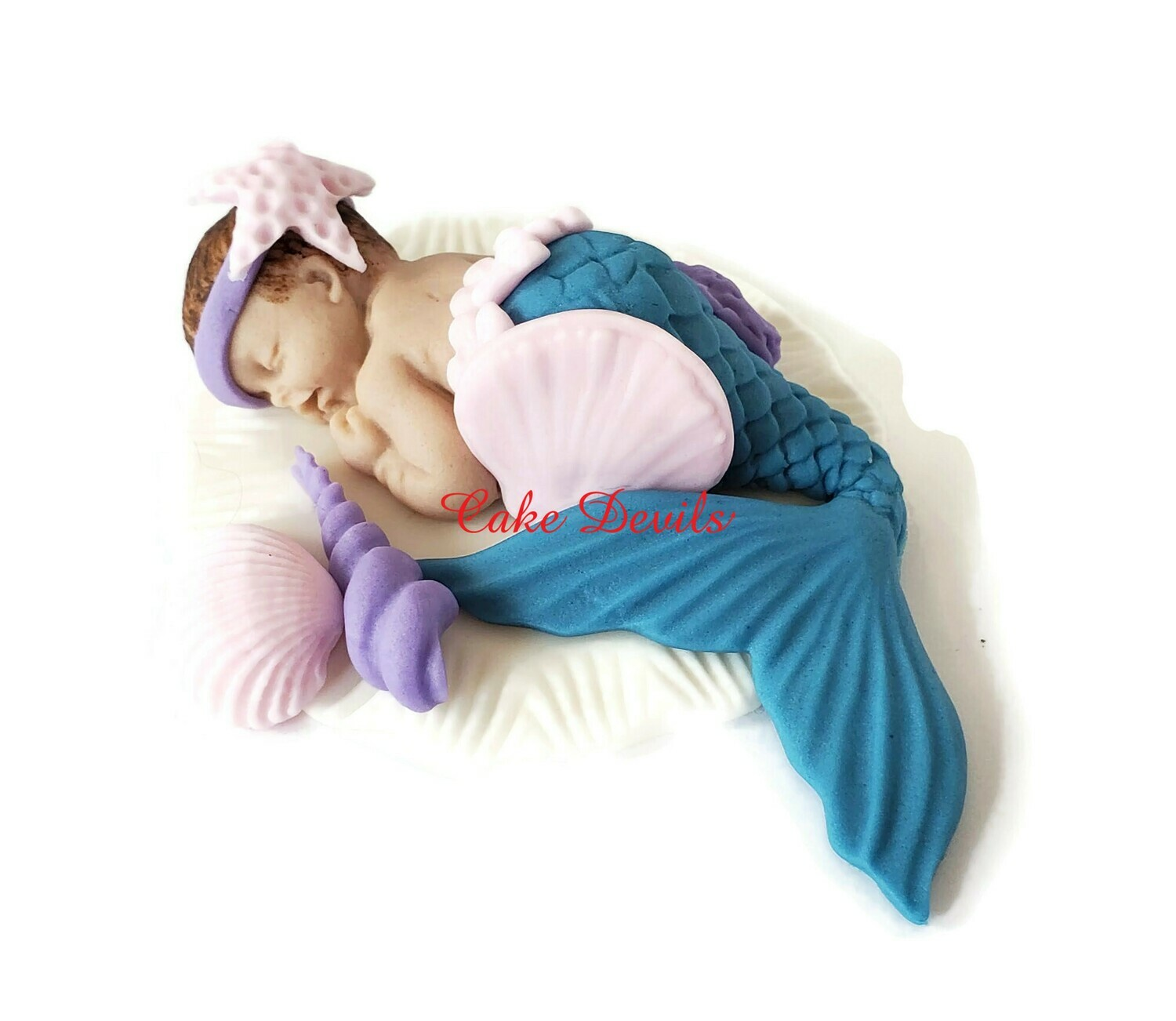 Mermaid Baby Shower Cake Topper, Fondant  Sleeping Baby mermaid with shells Cake Decoration