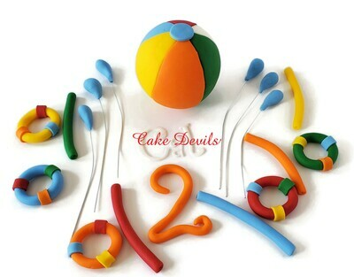 Big Beach Ball Fondant Pool Party Cake Toppers