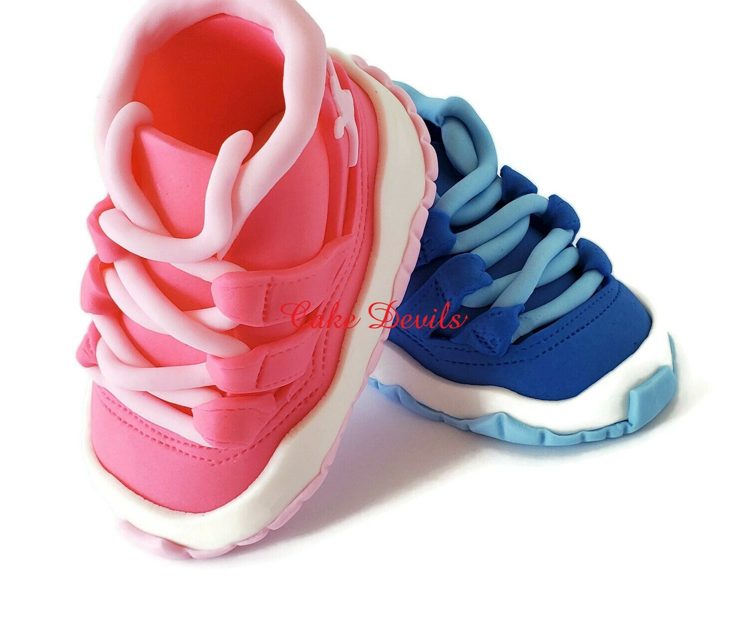 Fondant Gender Reveal Sneakers Cake Toppers, Great on top of a Shoe Box Cake for your Gender Reveal Party! , Nike Jordan 11 inspired