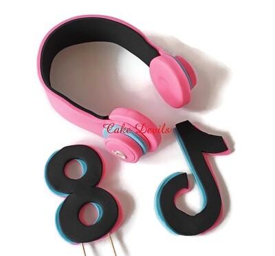 Fondant Tik Tok and Headphones Cake Toppers