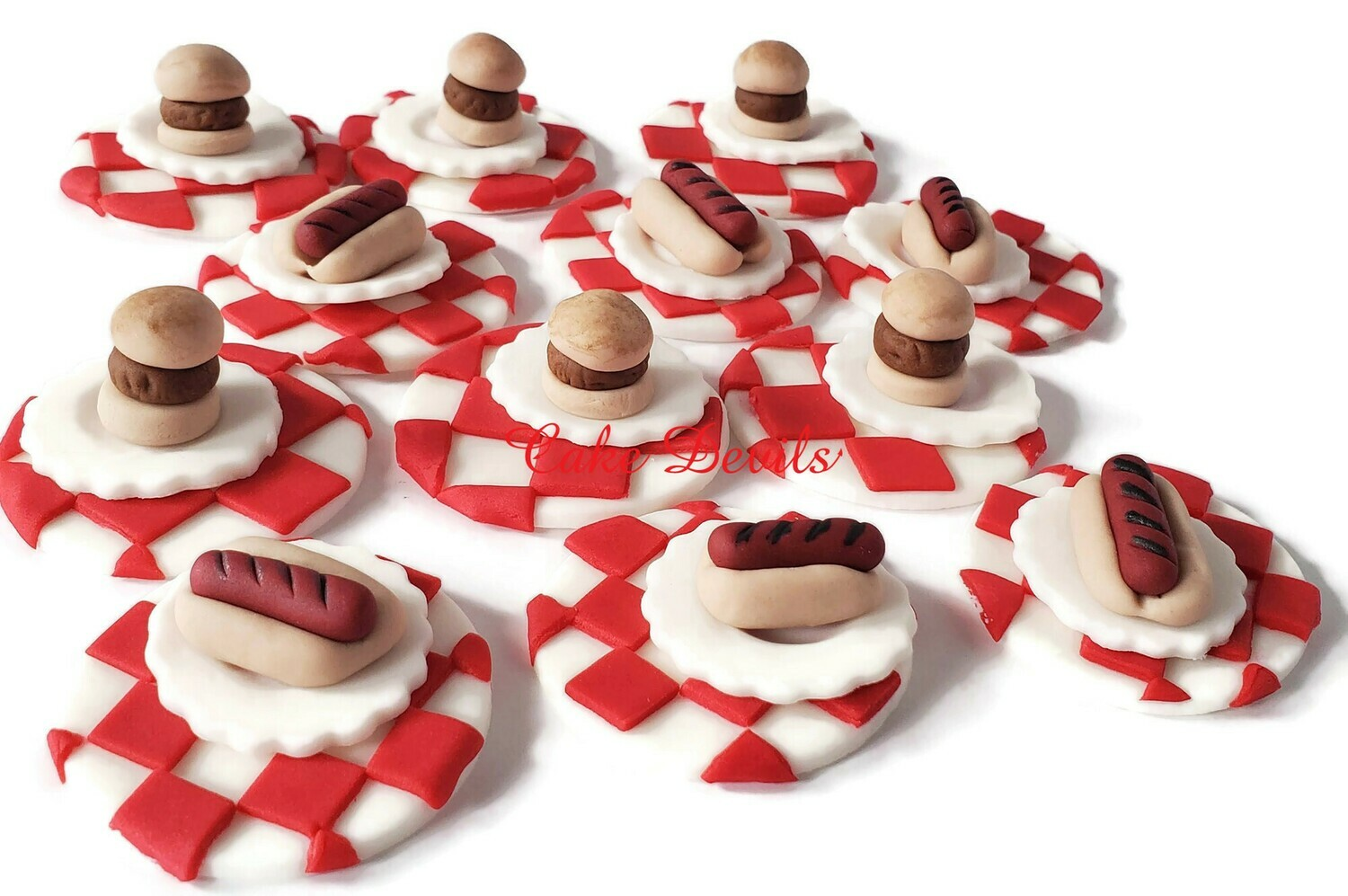 Hot Dog and Hamburger Fondant Cupcake Toppers, great for a birthday party or picnic!