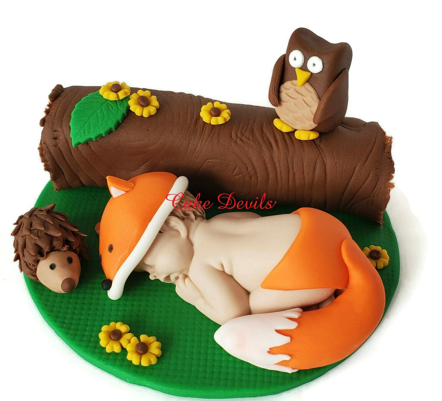 Woodland Creatures Fox Baby Shower Cake Topper with Fondant Owl, Porcupine