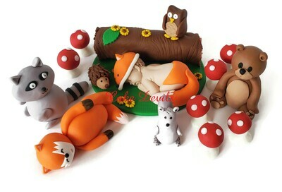 Woodland Animals with Fox Baby Shower Cake Toppers, Forest Creatures include: Fox, owl, Squirrel, Porcupine, Bear, Racoon