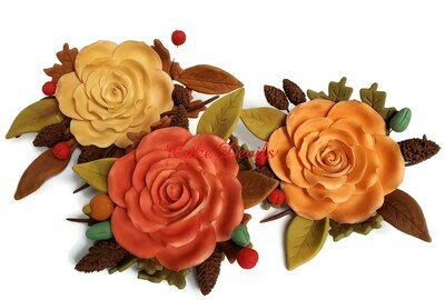 Fall Rose Spray Wedding Cake Toppers with fondant pine cones, leaves, and berries