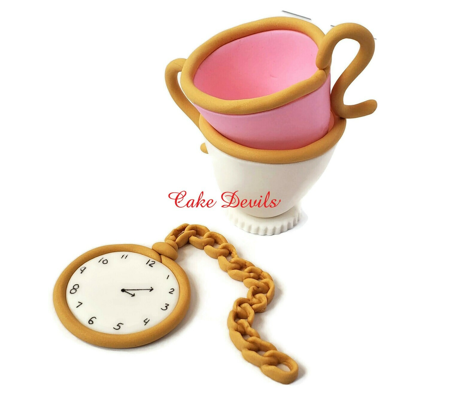 Alice in Wonderland Fondant Stacked Tea Cups and Pocket Watch Cake Toppers