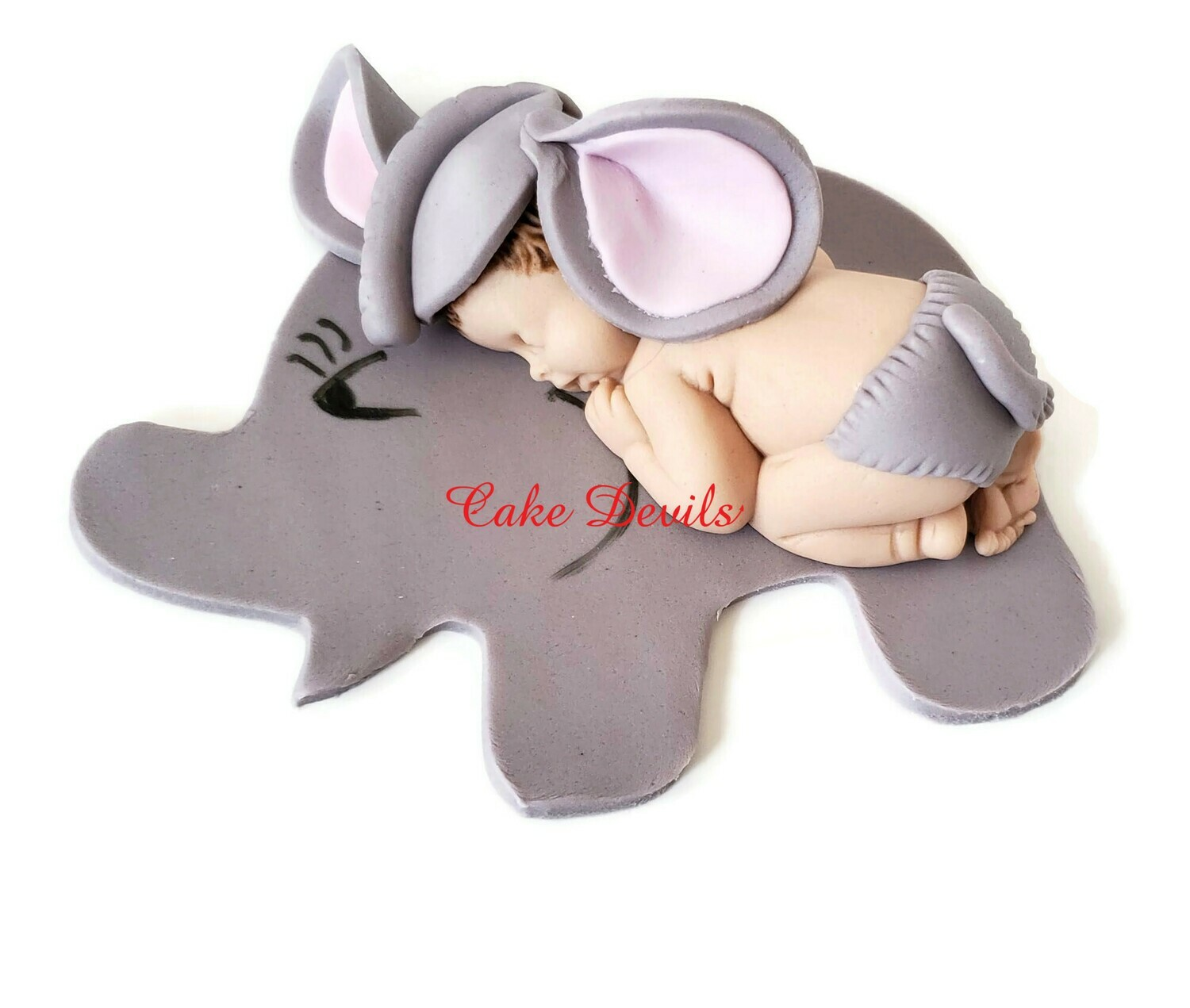 Fondant Elephant Baby Shower Cake Topper, Sleeping Baby dressed as an Elephant
