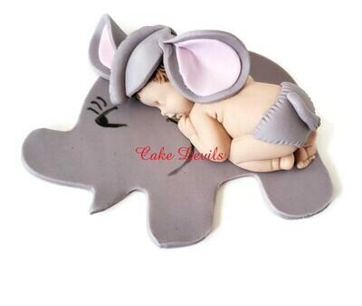 Fondant Elephant Baby Shower Cake Topper, Sleeping Baby dressed as an Elephant