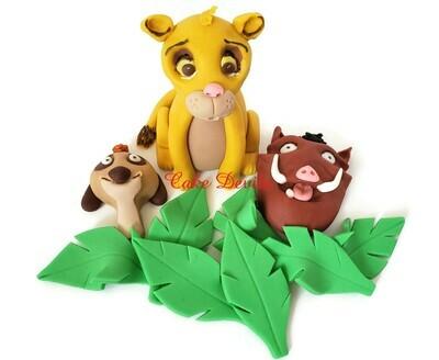 Fondant Lion King Simba, Pumbaa, and Timon Cake Toppers