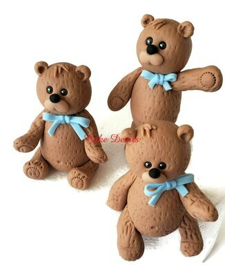Fondant Teddy Bear Cake Toppers for Baby Shower, Birthday and more!