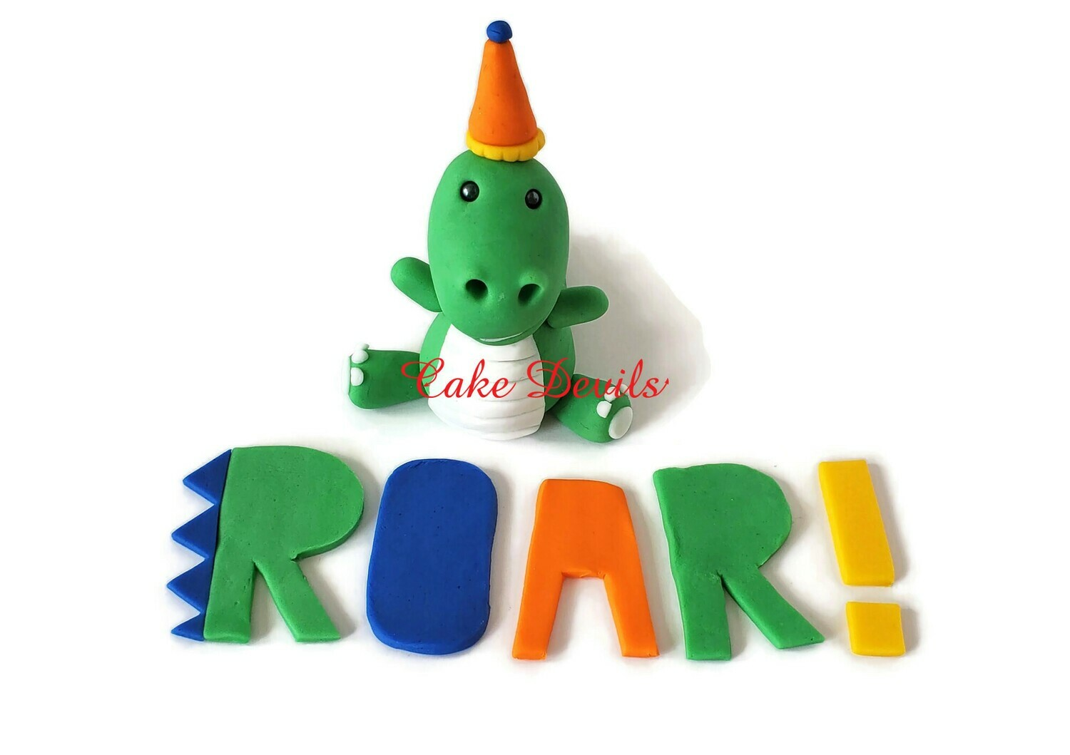 Fondant Dinosaur Cake Topper with birthday Part Hat and ROAR! letters