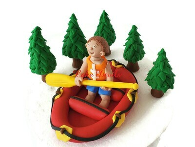 Fondant White Water Rafting Cake Topper Set for the river rafting or whitewater rafting lover in your life!