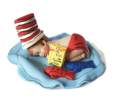 Dr Seuss Baby Shower Fondant Cake Topper - One Fish, Two Fish, Red Fish Blue Fish