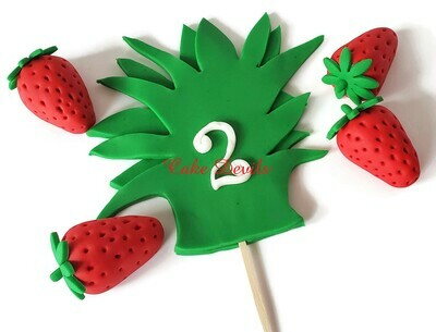 Pineapple Cake Topper of Fondant Pineapple leaves with handmade edible fondant strawberries perfect for a pineapple face cake