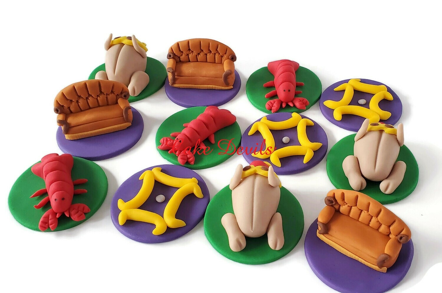 Friends Fondant Cupcake Toppers, Central Perk Couch, Fondant Lobster, Fondant Turkey, Friends frame