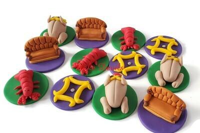 Friends Fondant Cupcake Toppers, Central Perk Couch, Fondant Lobster, Fondant Turkey, Friends frame