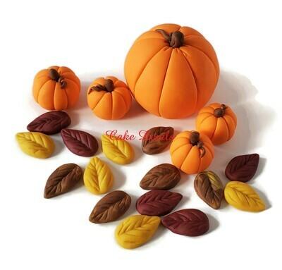 Fall Pumpkin Cake Decoratoins, Fondant Pumpkins, Autumn Leaves Cake, Fall Birthday Cake, Edible pumpkins, colored pumpkins, elegant pumpkins