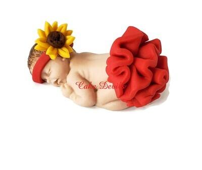 Fondant Baby Girl with big Ruffle skirt, Sunflower headband Baby Shower Cake Topper