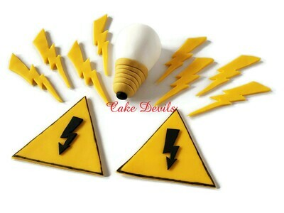 Electric fondant cake toppers, great for the electrician in your life!