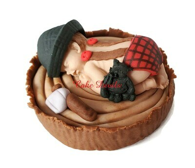Fondant Lumberjack Baby Shower Cake Topper with Buffalo Plaid, Red Rustic, flannel diaper