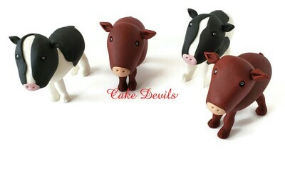 Fondant Cow Cake Toppers, Handmade Cows and fondant Cow Spots Cake Decorations for Farm or Barn Cake