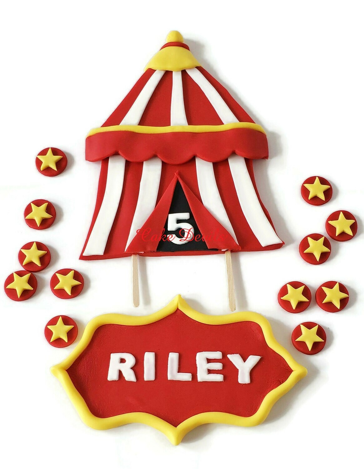 Fondant Circus Carnival Tent Cake Toppers