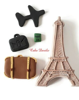 Fondant Travel Cake Toppers, Eiffel Tower, Suitcase, Passport, and Plane Cake Decorations