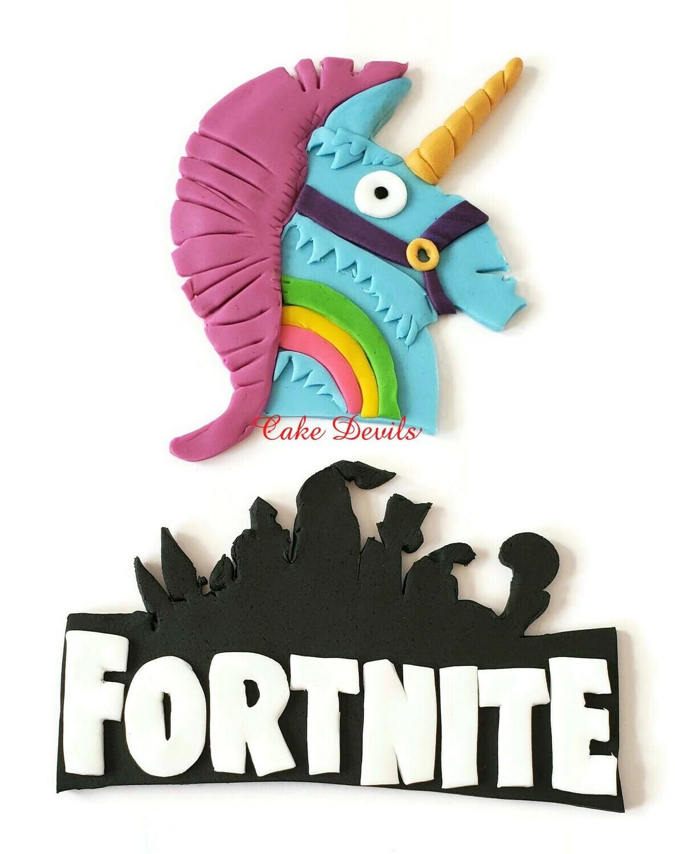 Fortnite Battle Royale Rainbow Smash Fondant Cake Toppers