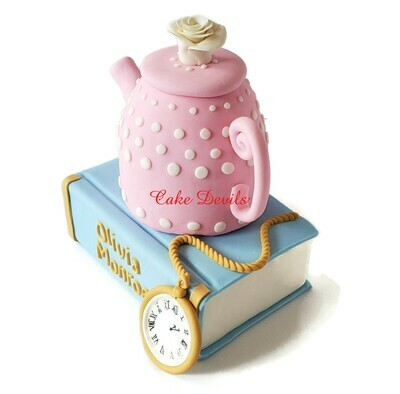 Large Fondant Teapot, Fairy Tale Book, and Pocket Watch Cake Toppers, Perfect for an Alice in Wonderland Theme Cake
