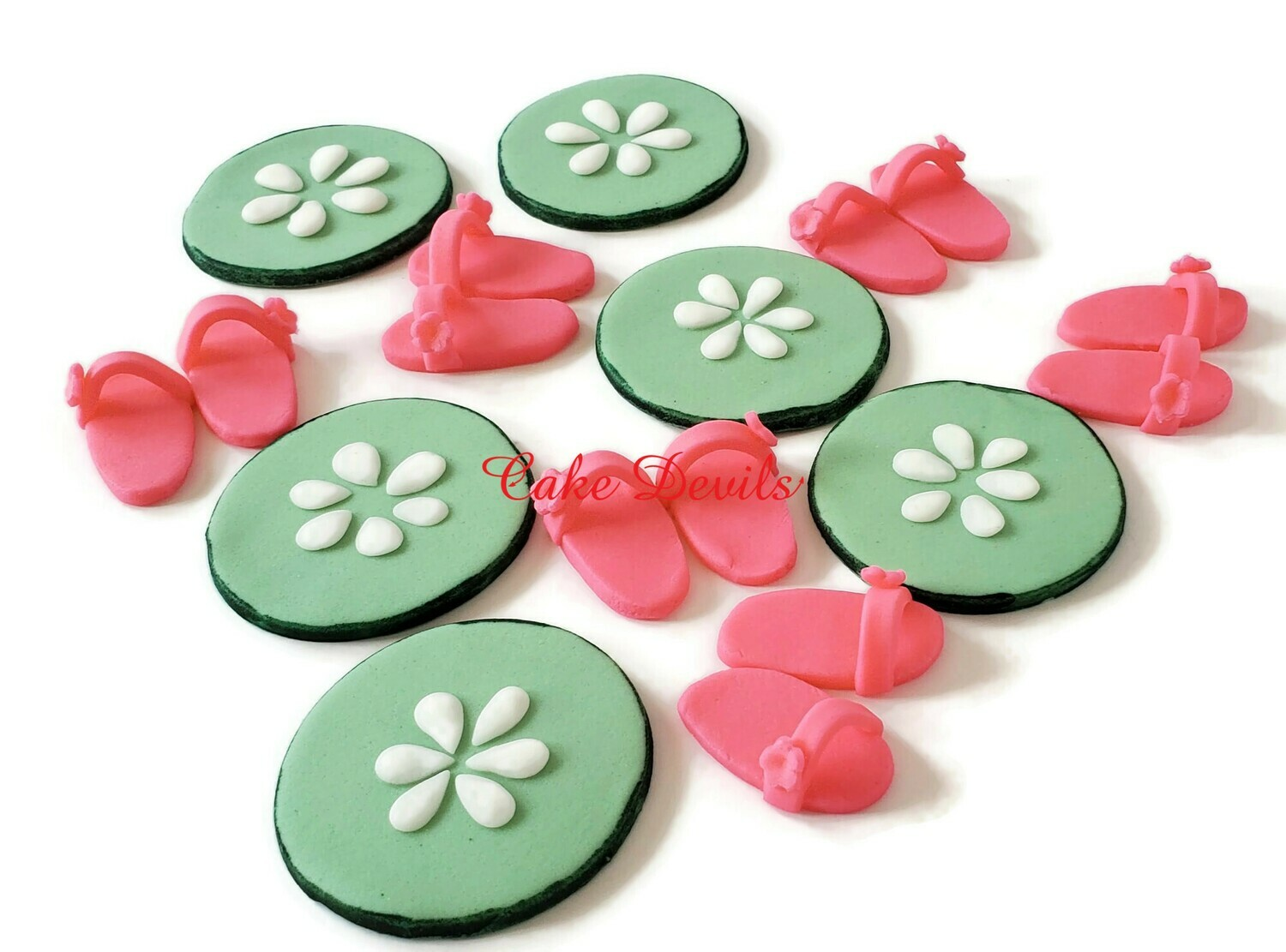 Fondant Spa themed Cupcake Toppers, Cucumber Slices and Spa Slippers Cake Toppers