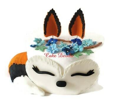 Fondant Fox Cake Topper Set, Fox Cake with Flowers