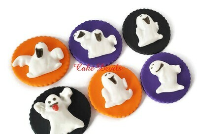 Fondant Ghost Cupcake Toppers, Halloween Cake Decorations