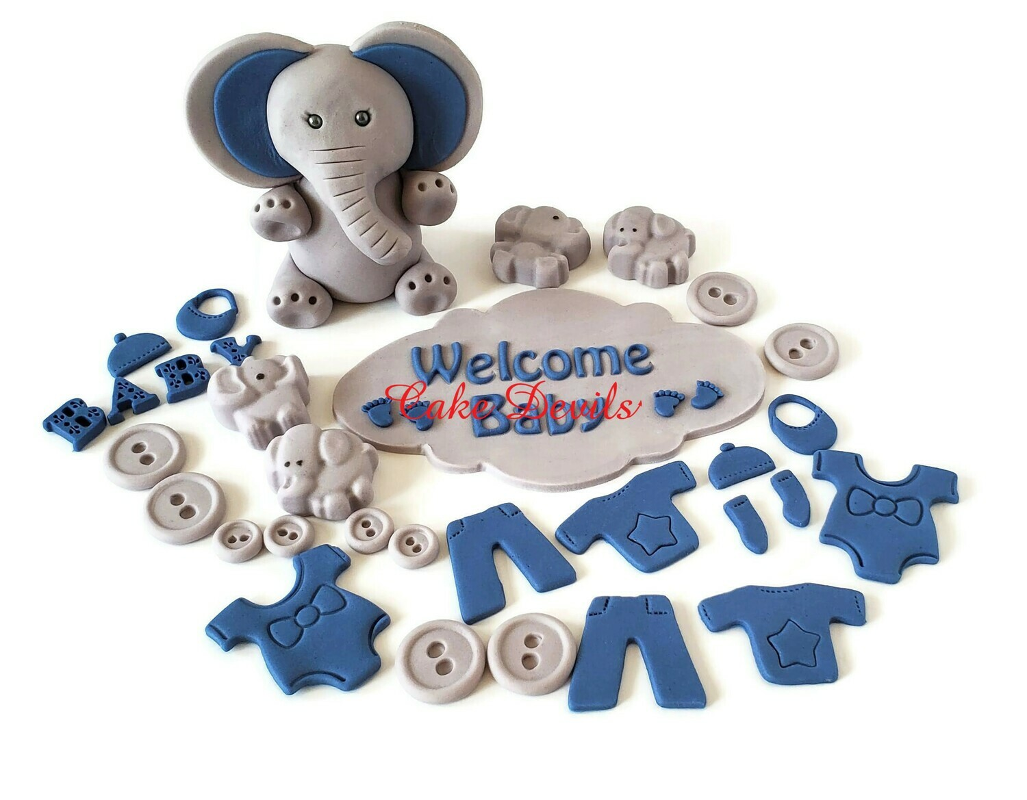 Elephant Baby Shower Cake Decorations including a Fondant Baby Elephant Cake Topper, Clothesline Cake Decorations, and plaque, handmade edible
