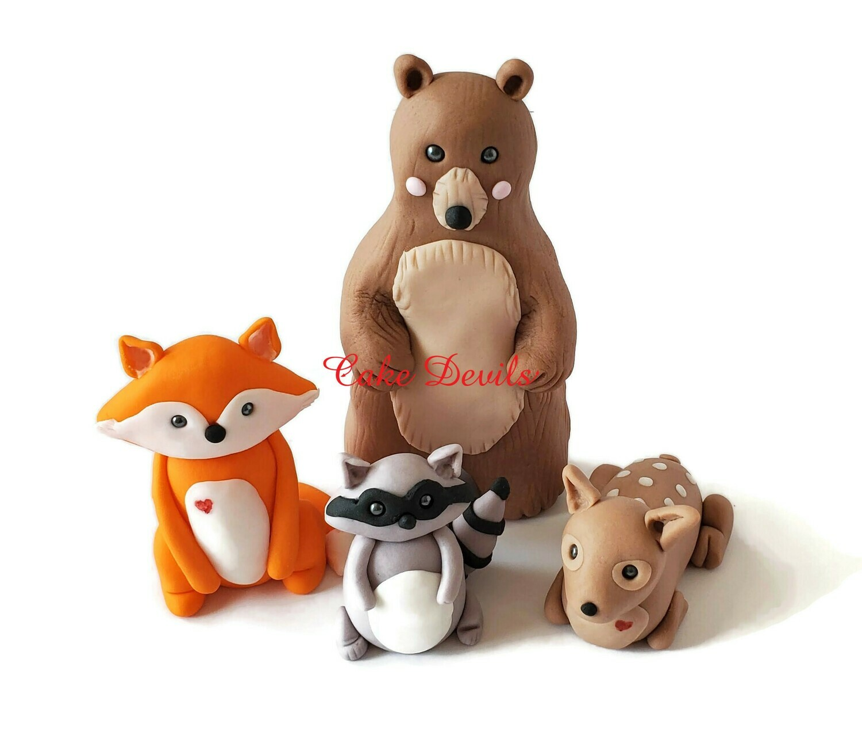 Fox, Bear, Raccoon, Deer, Fondant Woodland Animals Fondant Cake Toppers