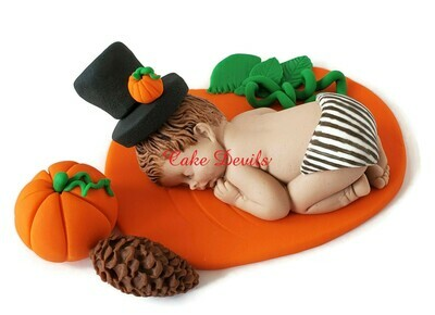 Fondant Halloween Pumpkin Baby Shower Cake Topper- Perfect for a Beetle Juice or Nightmare Before Christmas fan!