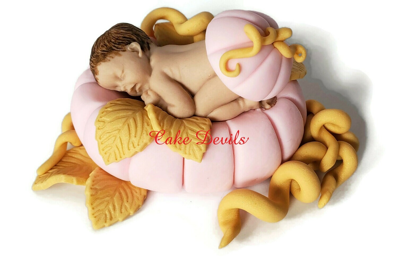 Fondant Cinderella Baby in a Pumpkin Baby Shower Cake Topper