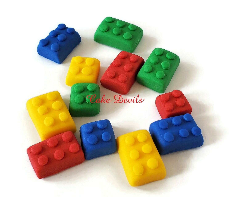 Fondant Lego Building Blocks Cake Toppers