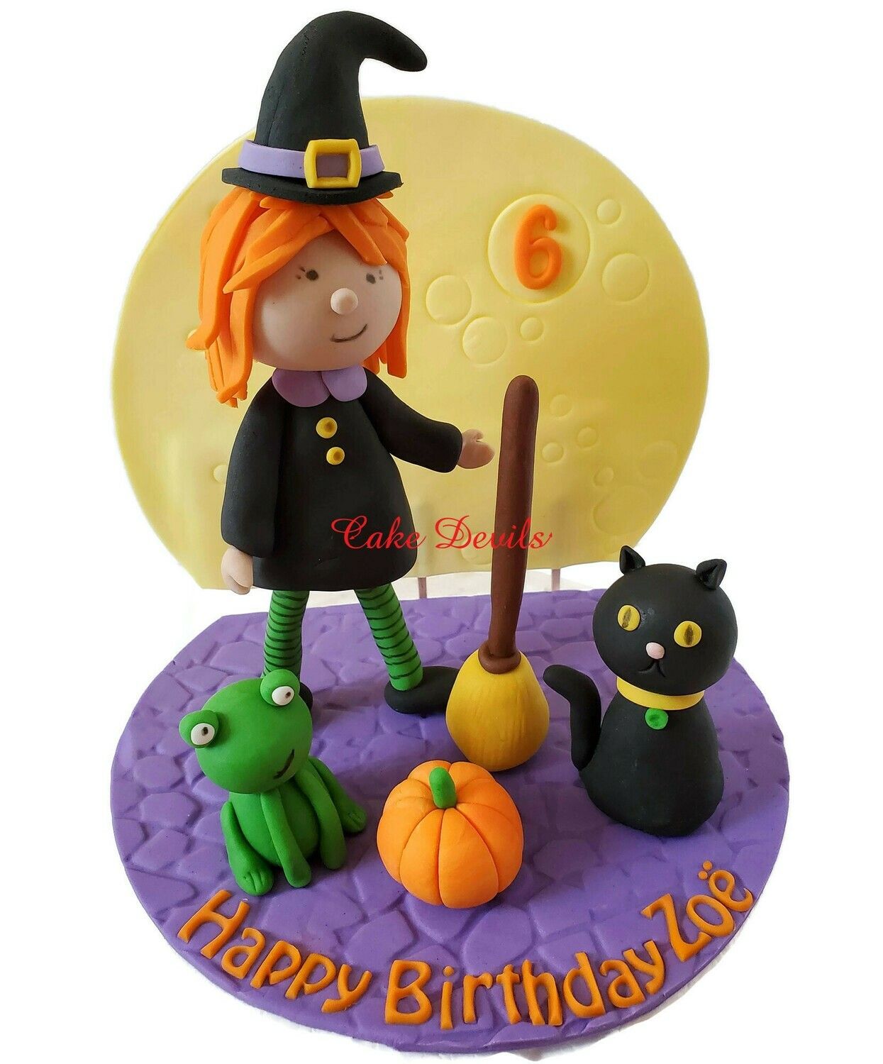 Fondant Little Girl Witch Halloween Cake Topper with Broom, Frog, Black Cat, Pumpkin, Spooky Tree, Moon, and Cobblestone Base