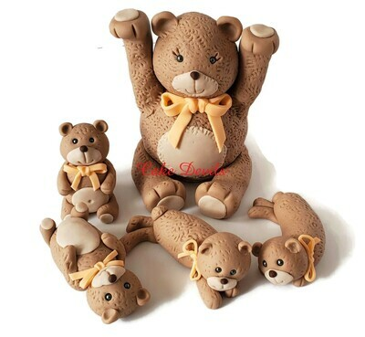 Large Bear to hold up Dummy Cake with Marching Fondant Teddy Bear Cake Toppers