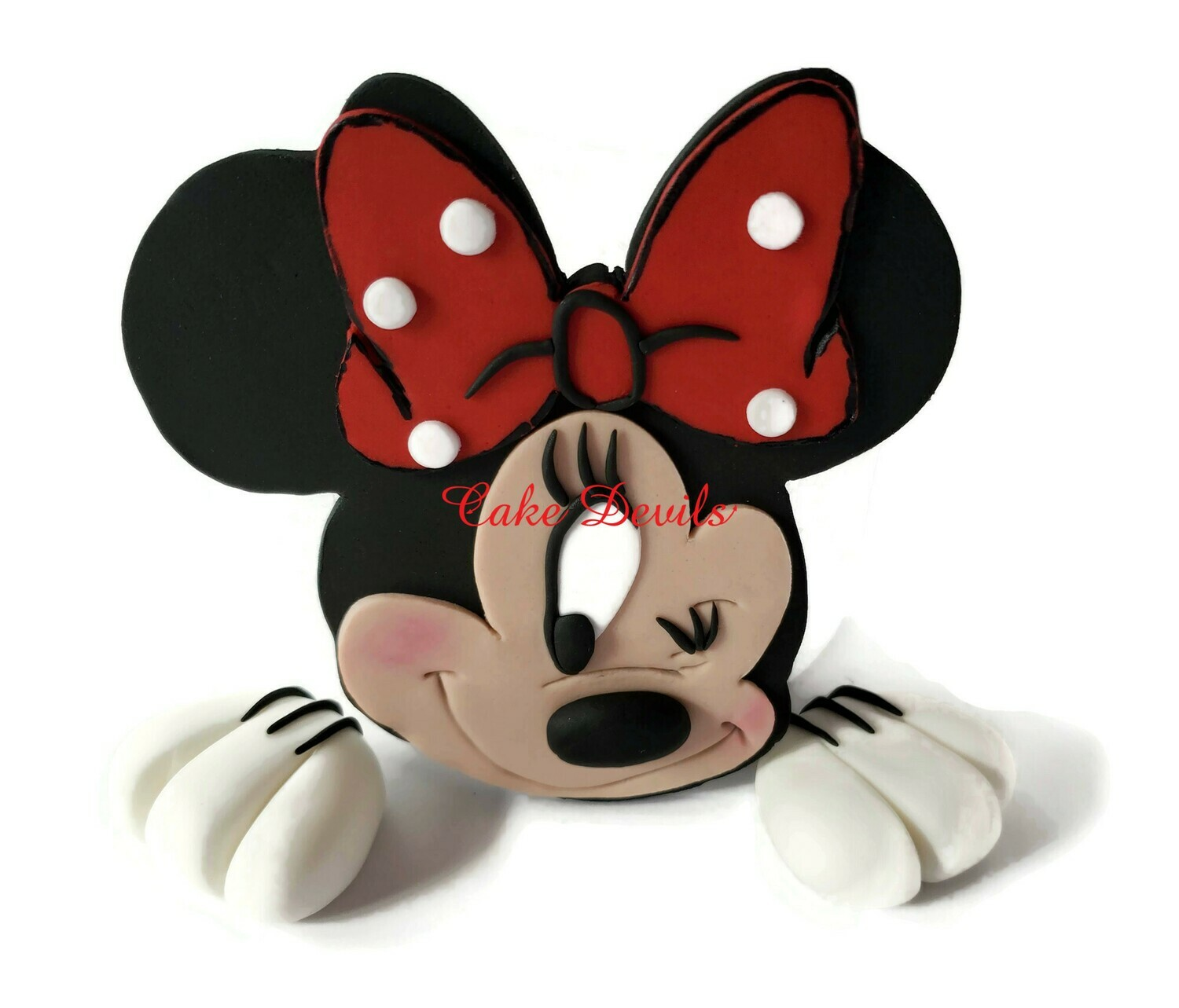 Minnie Mouse winking face and hands Fondant Cake Toppers