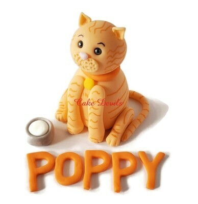 Fondant Orange Tabby Cat Cake Topper with Milk bowl and name