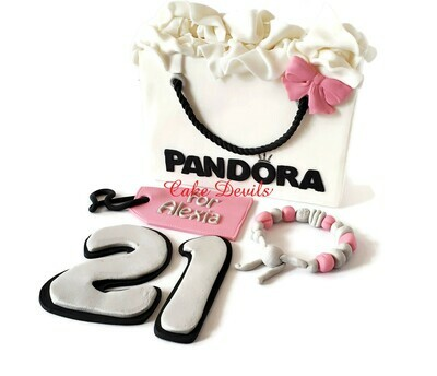 Fondant Pandora Shopping Bag and Bracelet Birthday Cake Toppers