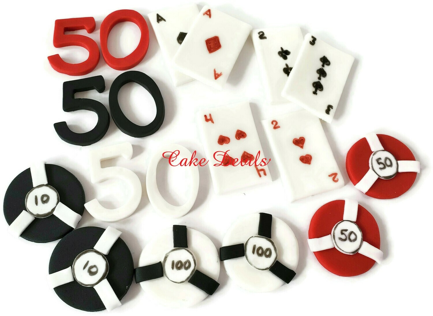 Fondant Casino Cupcake Toppers, playing cards, chips, age
