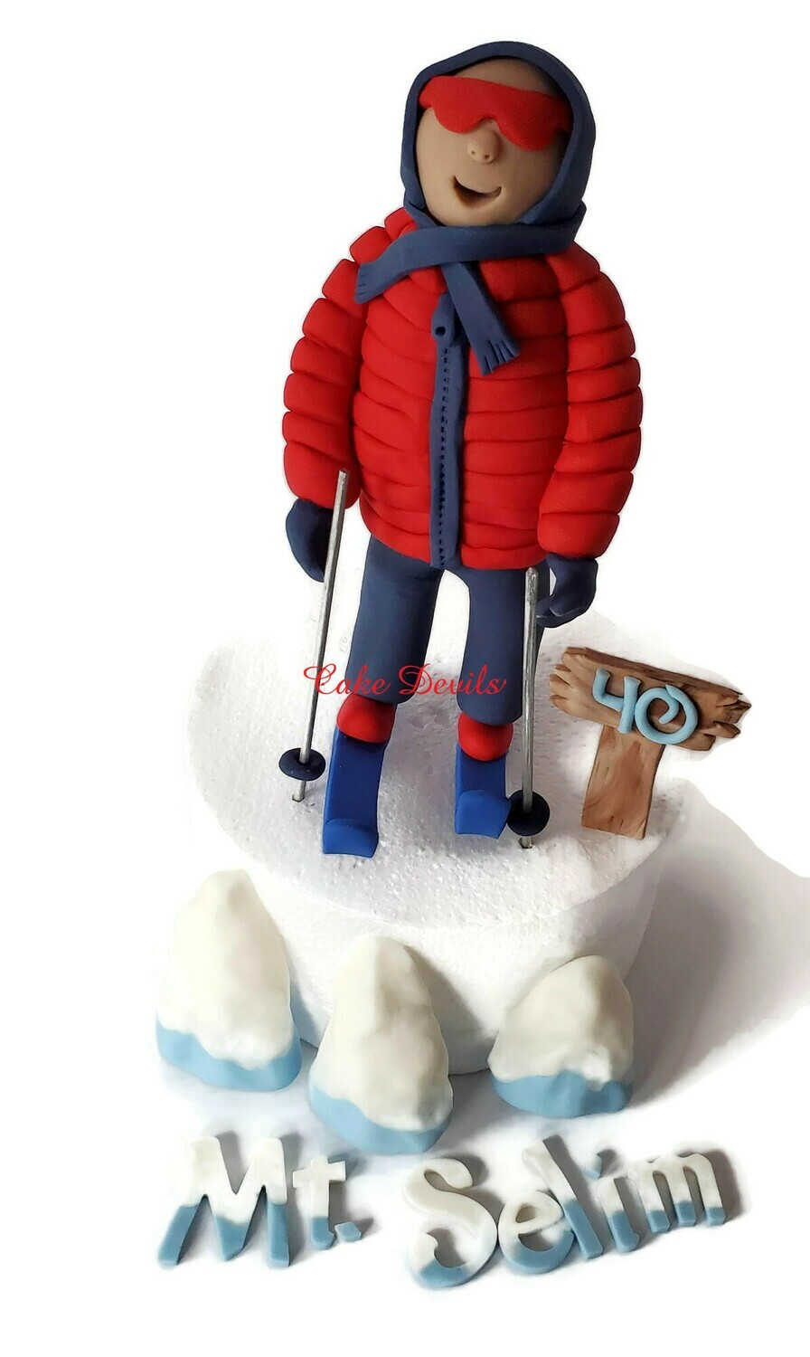 Fondant Skier Cake Toppers, perfect for a Ski Mountain Cake!