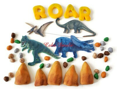 Fondant and Edible Image Dinosaur themed Cake Toppers, brontosaurus, triceratops, pterodactyl, and T-rex